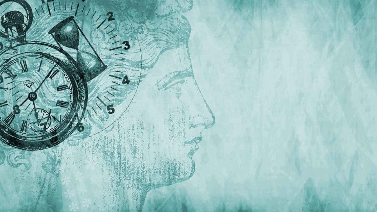 Dibujo con el rostro de una mujer, dos relojes y un reloj de arena